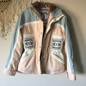 CHANEL ski wear fur lined logo jacket